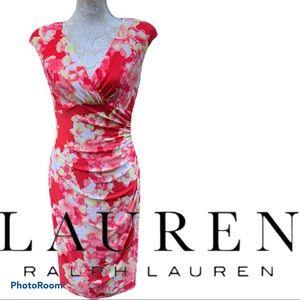 Ralph Lauren Coral Floral Print Cap Sleeve Dress